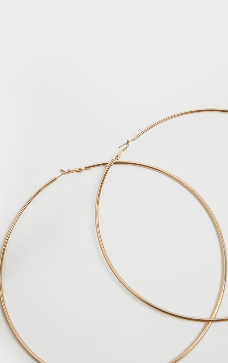 Gold 150mm Extra Large Hoop Earrings 4