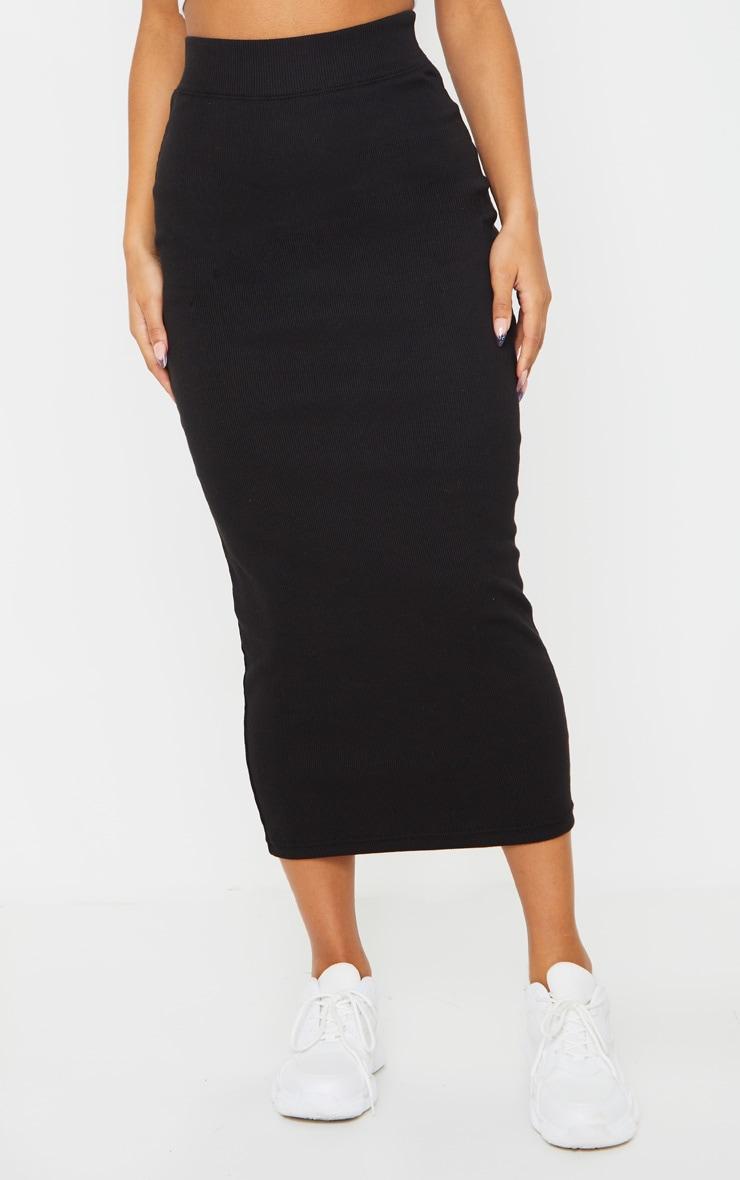 Black Structured Rib Bodycon Midaxi Skirt 2