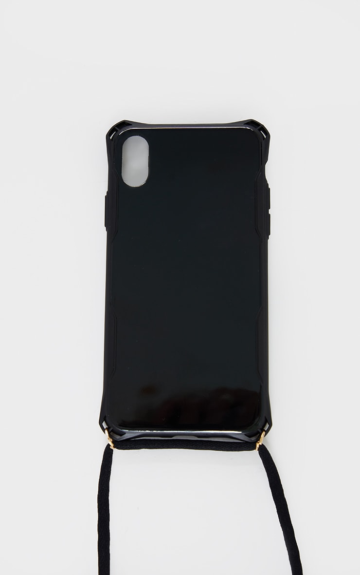 Black Iphone 10/X/XS/ Phone Case With Cross Body Strap 3