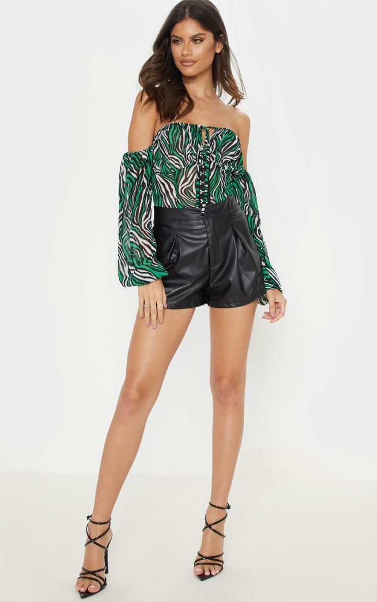 Green Zebra Hook & Eye Bardot Long Sleeve Bodysuit 1