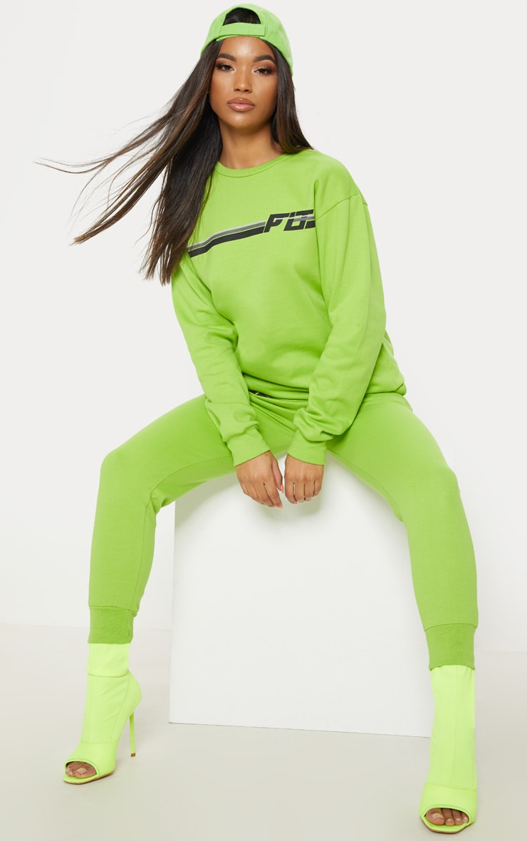 PRETTYLITTLETHING Neon Lime Printed Multi Stripe Sweater 4