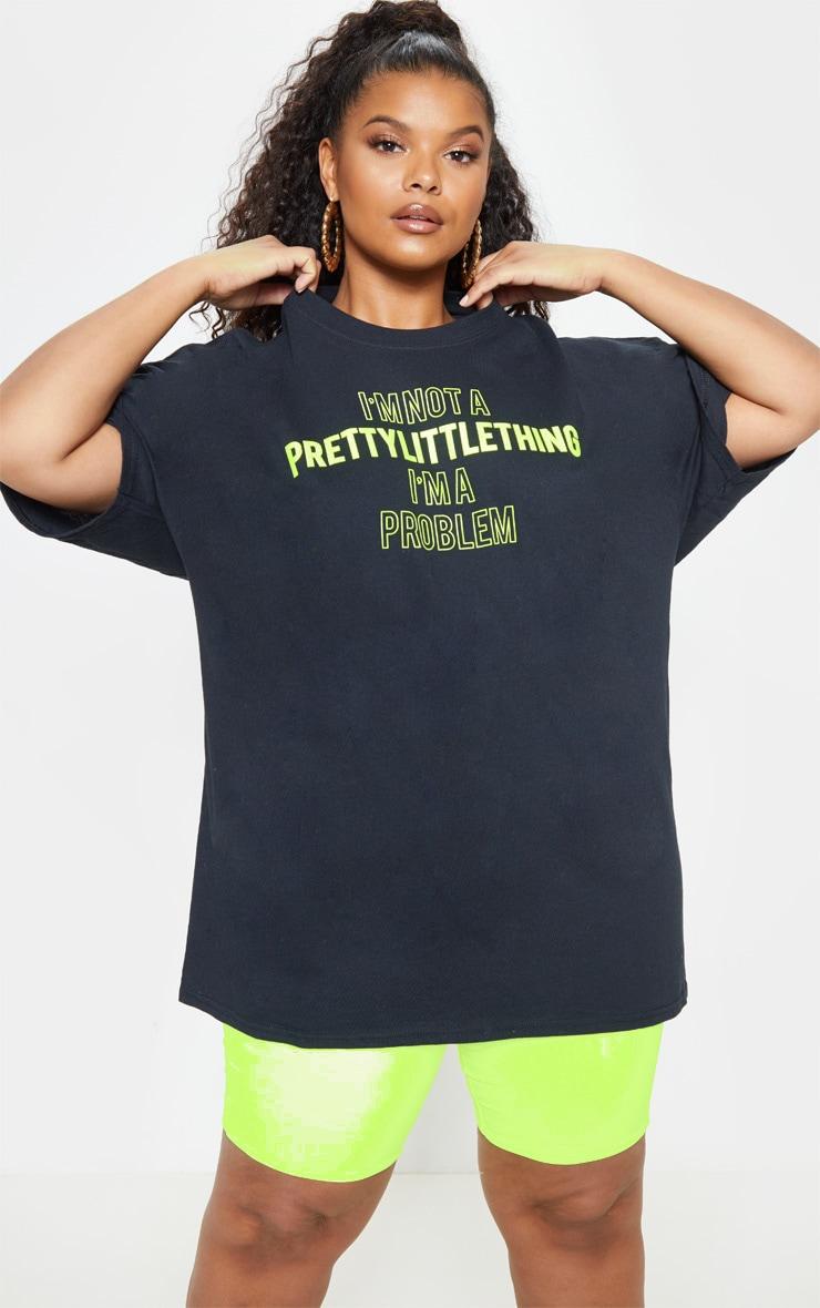 Plus Black Slogan T Shirt 2