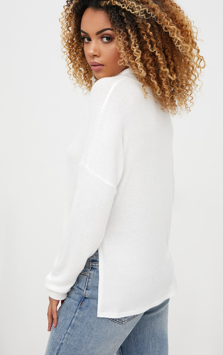 Cream Brushed Soft Rib Roll Neck Top  2