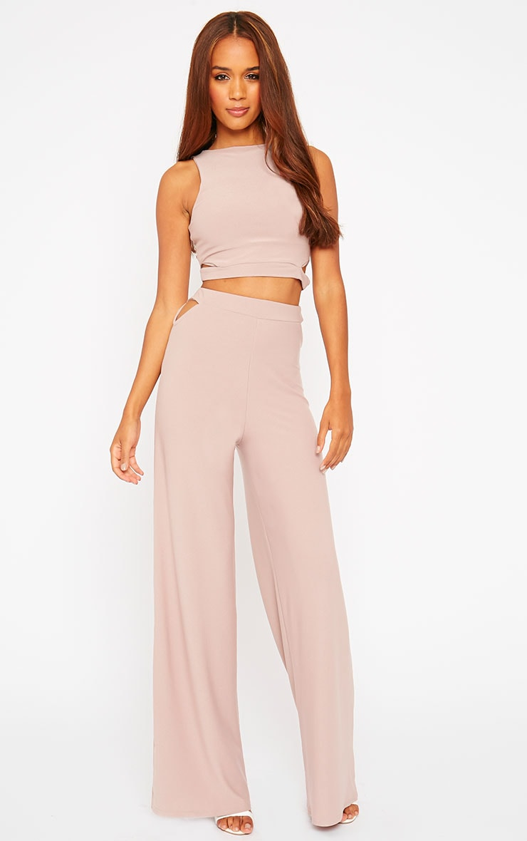 Elphina Dusty Pink Crepe Cut Out Crop Top 7