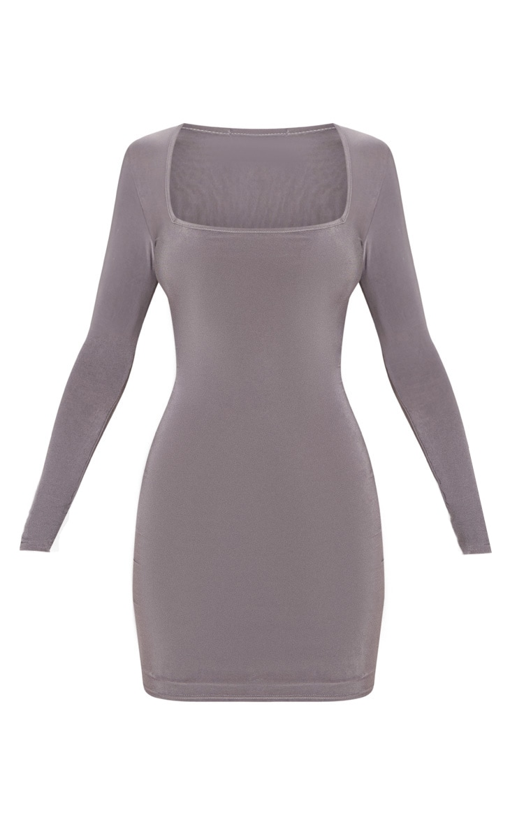 Charcoal Grey Second Skin Slinky Square Neck Bodycon Dress 3