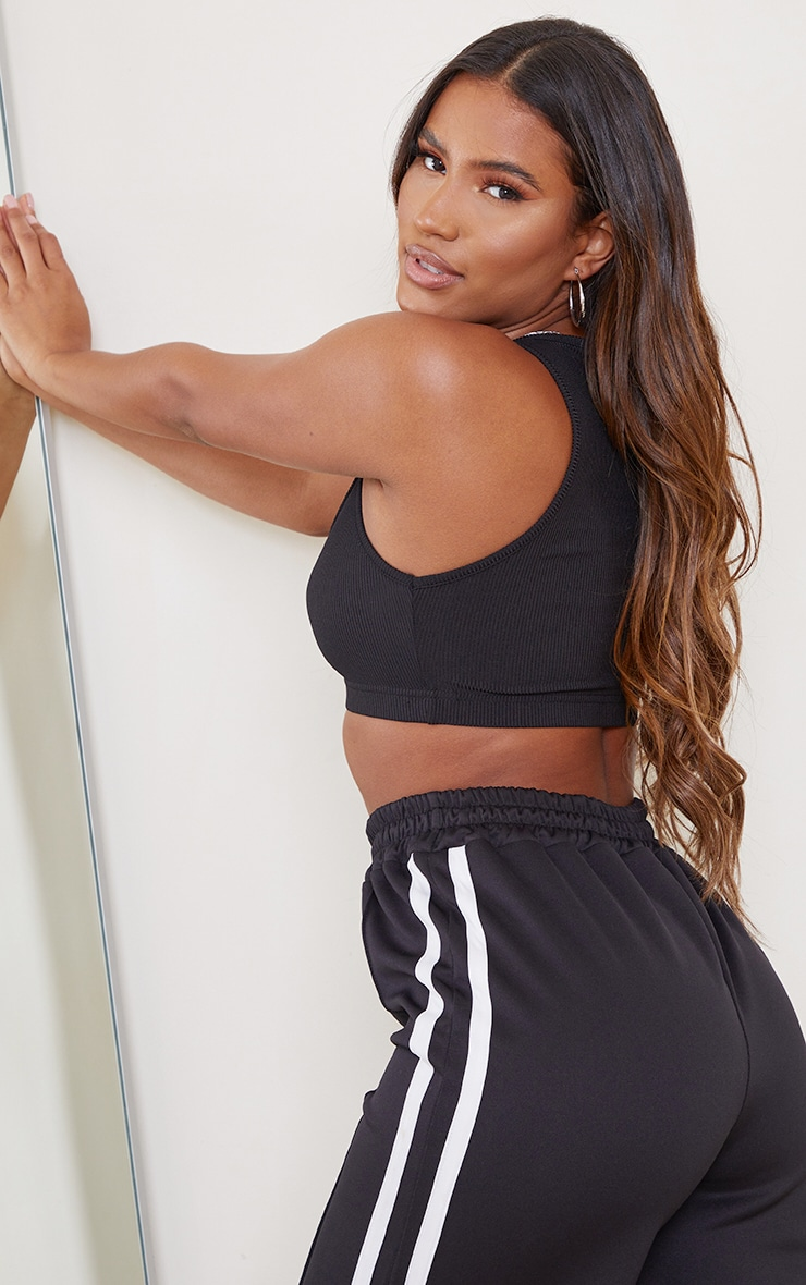 Black Sleeveless Elastic Hem Rib Crop Top 2