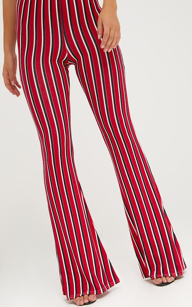 Red Jersey Vertical Stripe Flared Trousers 5
