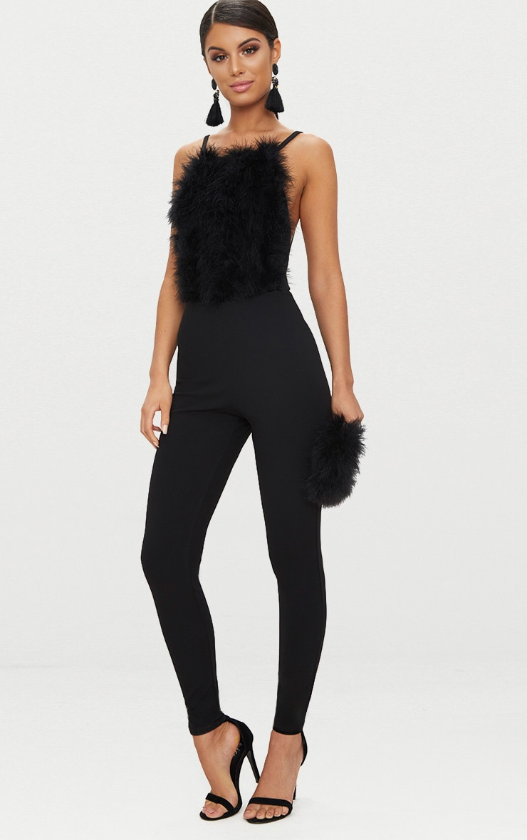 Black Feathers Front Jumpsuit 1