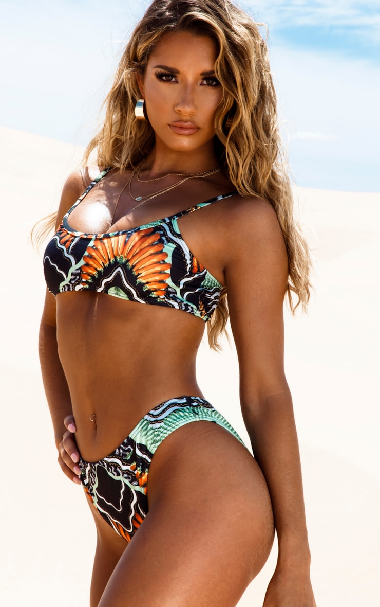 Black Tribal Print High Leg Bikini Bottom 2