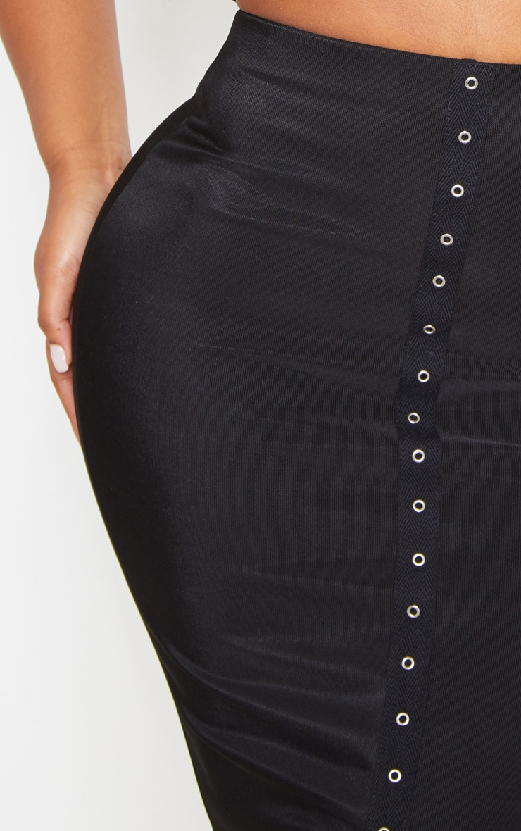 Black Textured Rib Eyelet Detail Midaxi Skirt 5