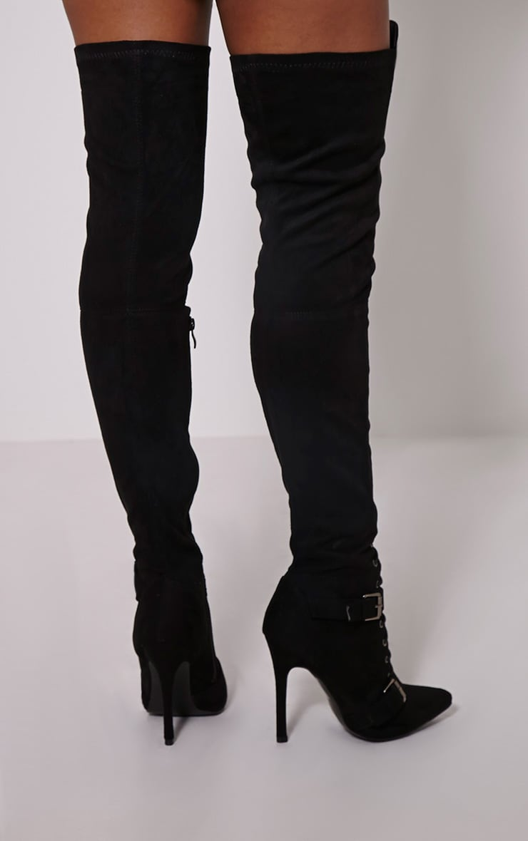 Sofey Black Faux Suede Lace Up Pointed Over The Knee Boots 2