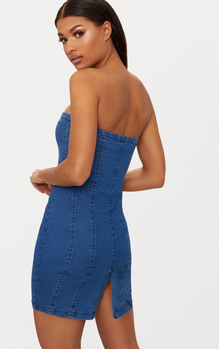 Blue Lace Up Front Denim Bodycon Dress 2
