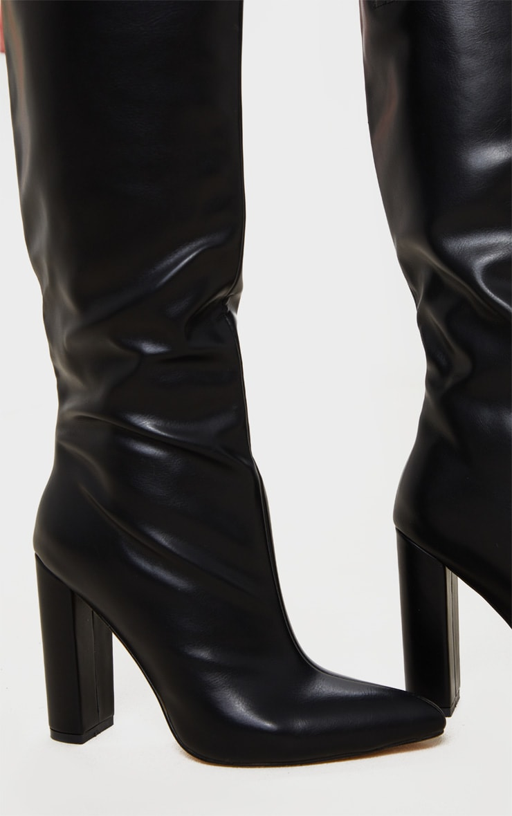Black Wide Fit Knee High Point Block Heel Boot 4