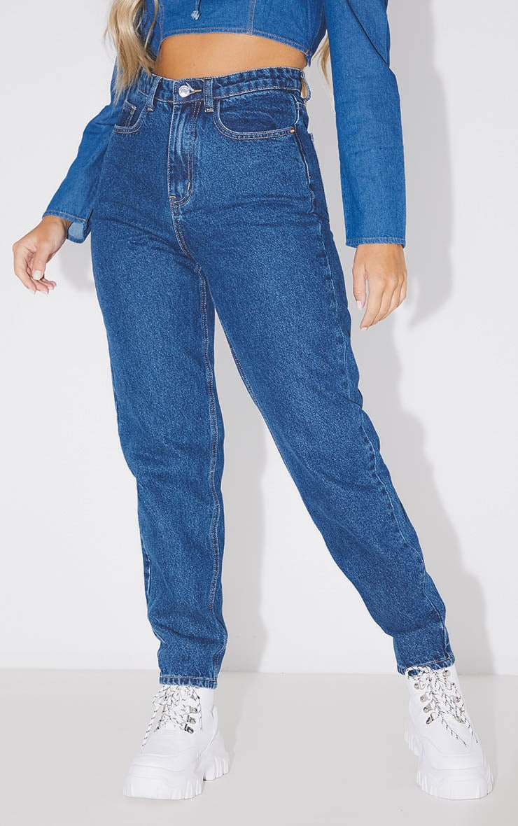 PRETTYLITTLETHING Dark Blue Mom Jean 2