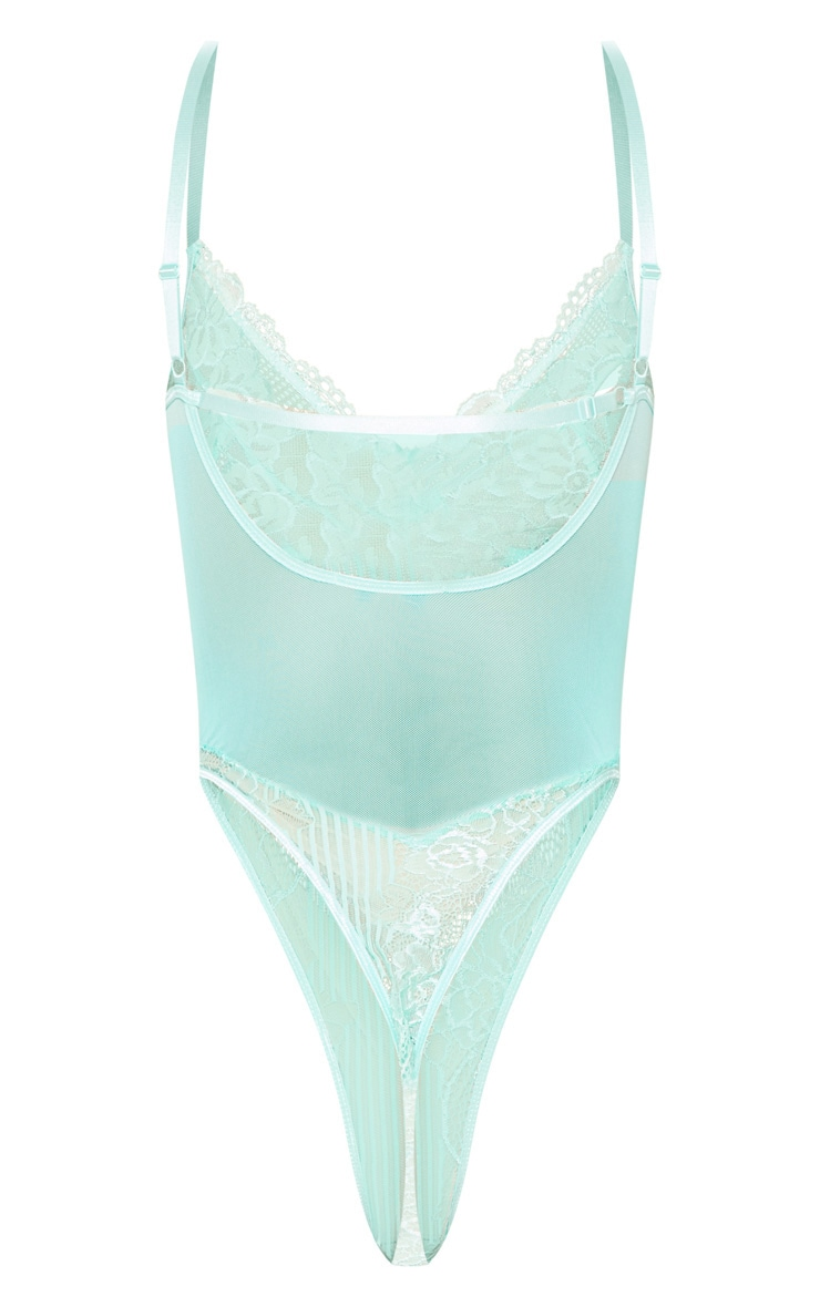Mint Lace Insert High Leg Cupped Body 8