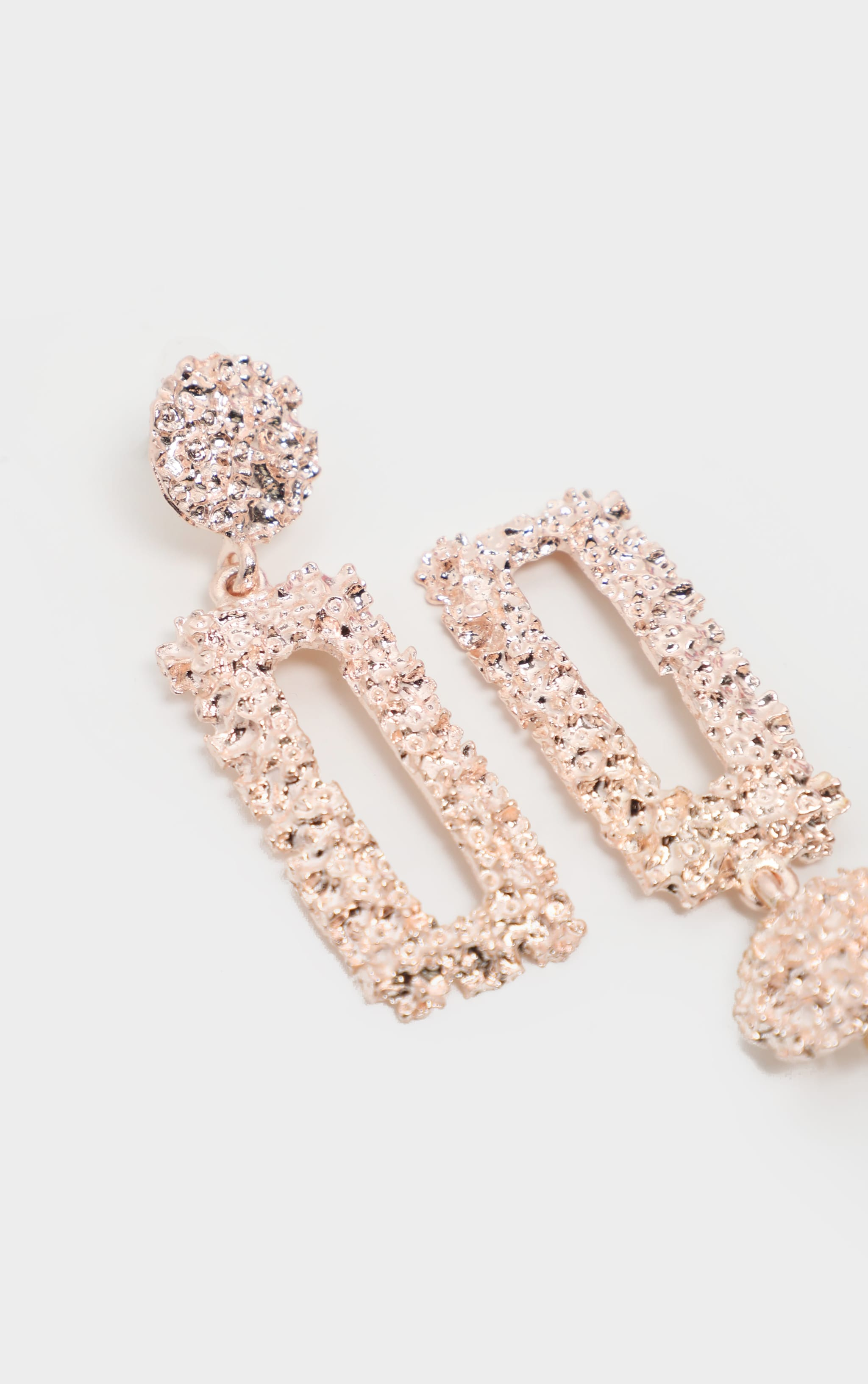 Rose Gold Textured Thin Rectangle Door knocker Earrings 3