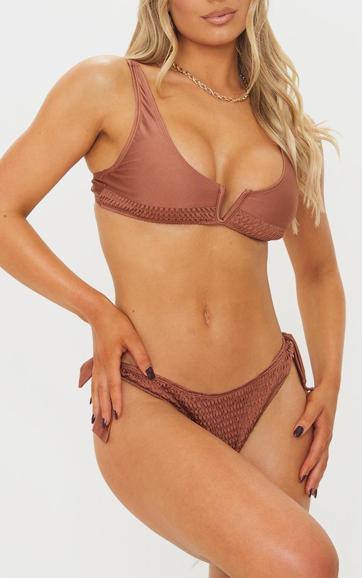 Chocolate Smocked Tie Side Bikini Bottoms 1