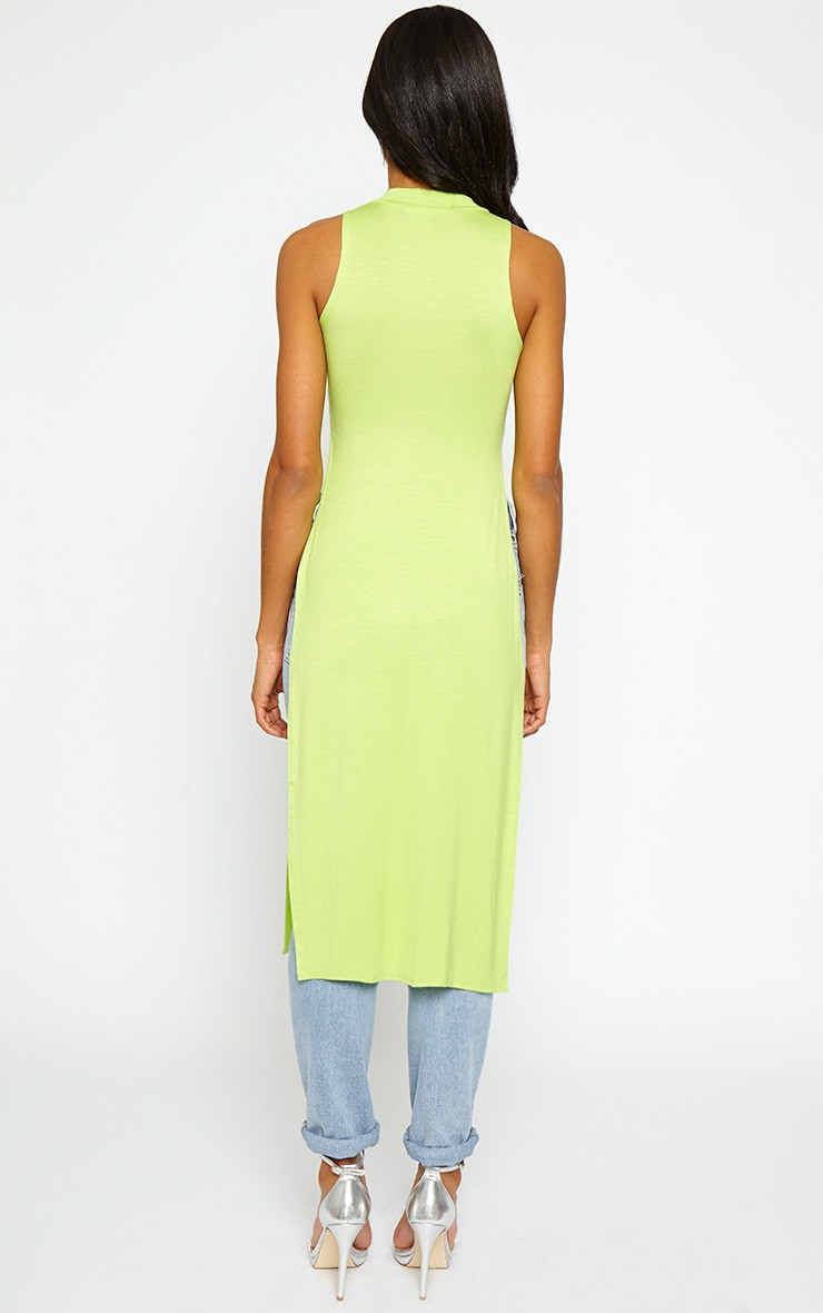 Ane Lime High Neck Split Side Top 2