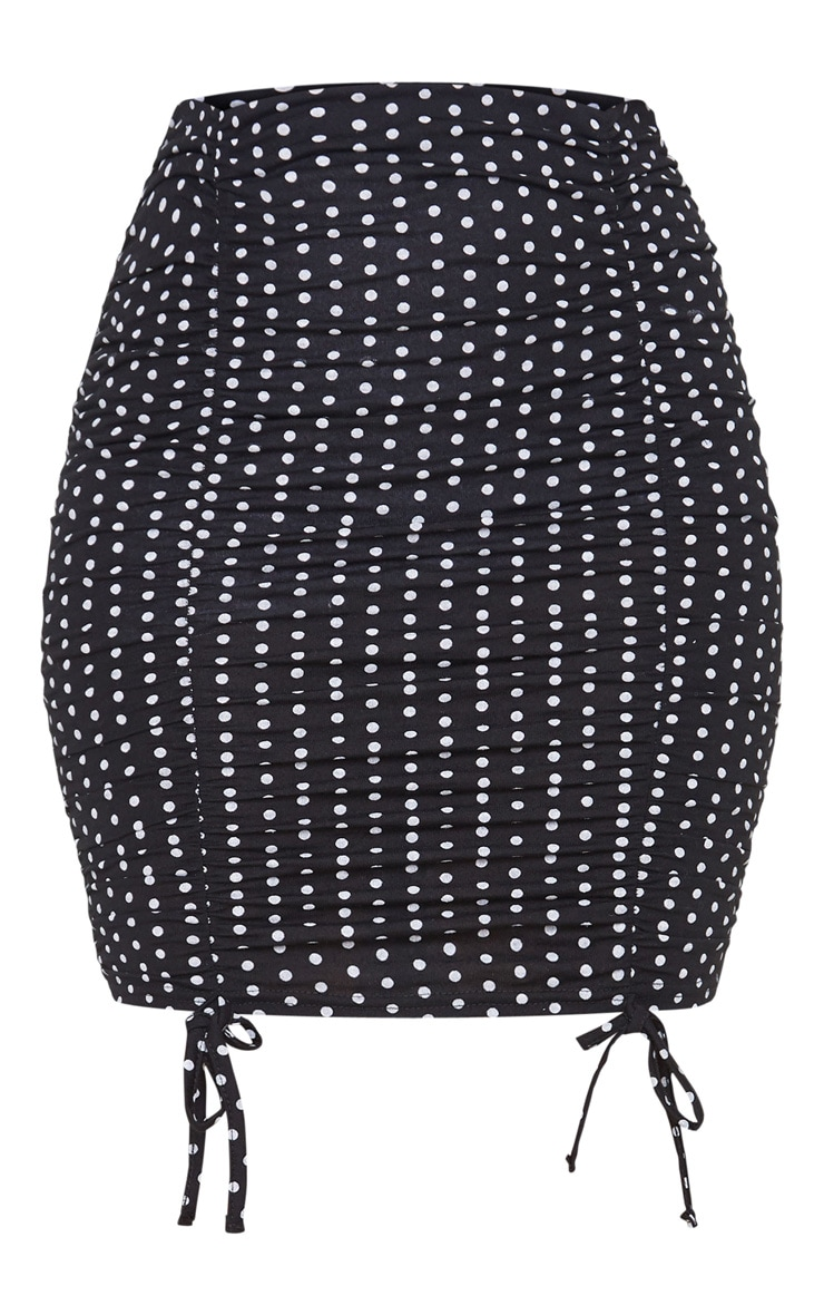 Black Polka Dot Ruched Tie Detail Mini Skirt 3