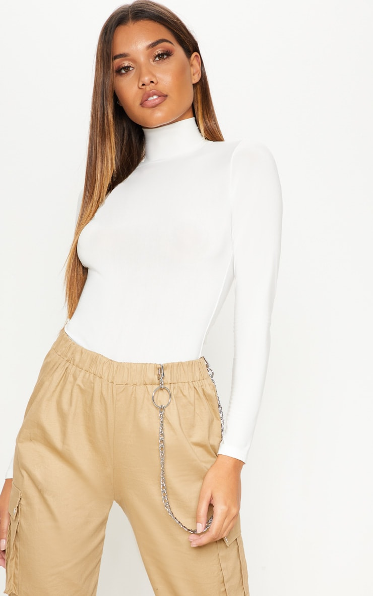 Cream Long Sleeve Slinky Roll Neck Top 1
