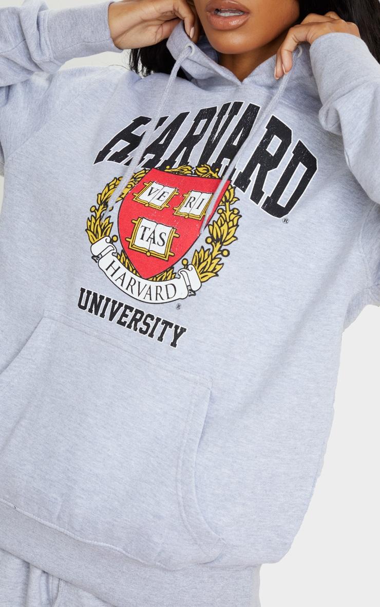 Grey Marl Harvard Slogan Hoodie 5