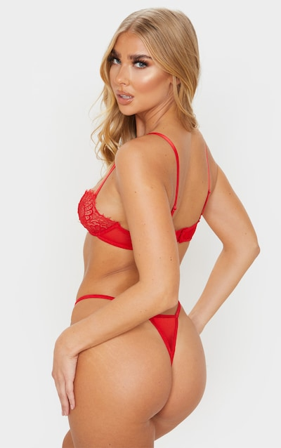 Red Ring Detail Lace Underwired Bra