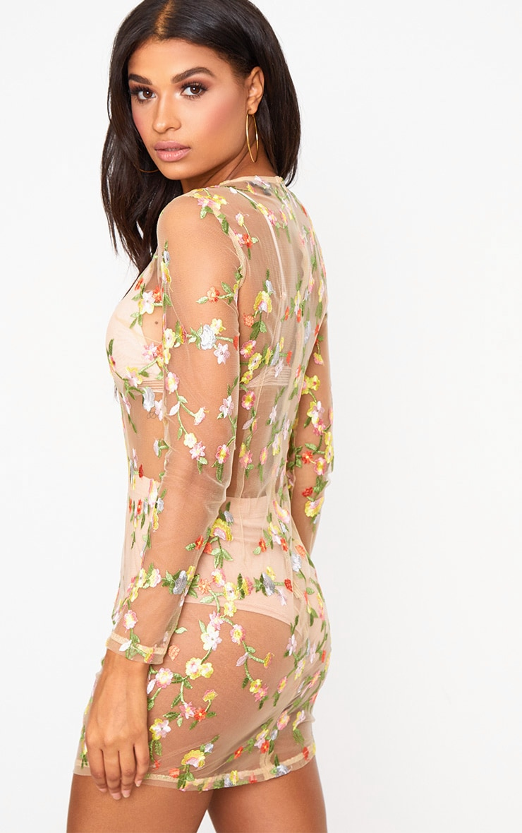 Nude Floral Embroidered Sheer Lace Bodycon Dress 2