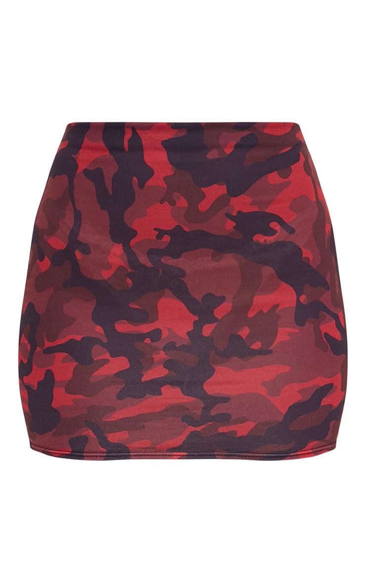 Red Camo Print Mini Skirt 3