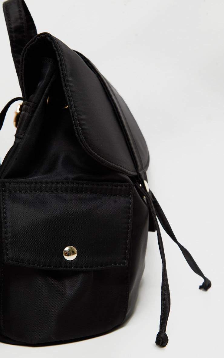 Black Nylon Double Pocket Backpack 5