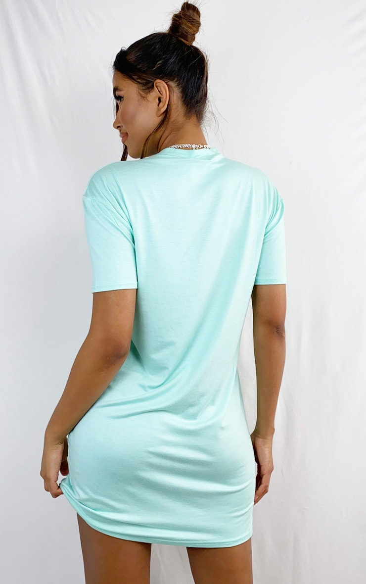 Mint Marl Basic Fitted T Shirt Dress 2