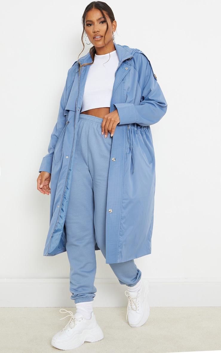 Blue Steel Hooded Zip Through Elastic Waist Mac image 1