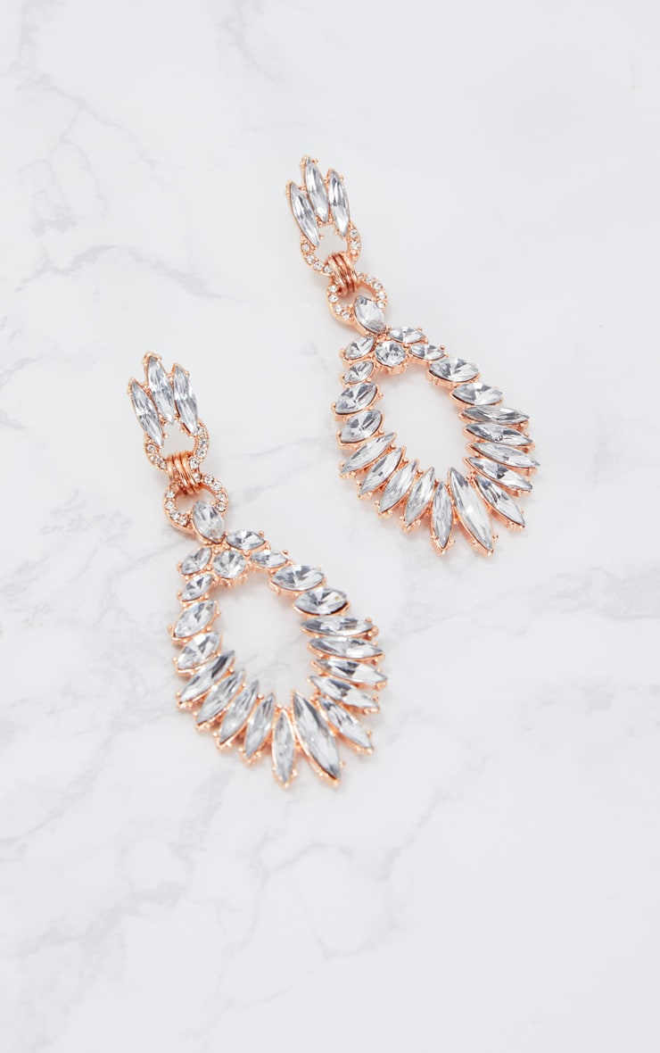 Rose Gold Statement Diamante Earrings 3