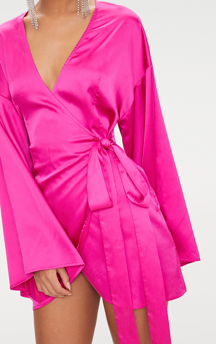 Fuchsia Wrap Long Kimono Sleeve Dress  6