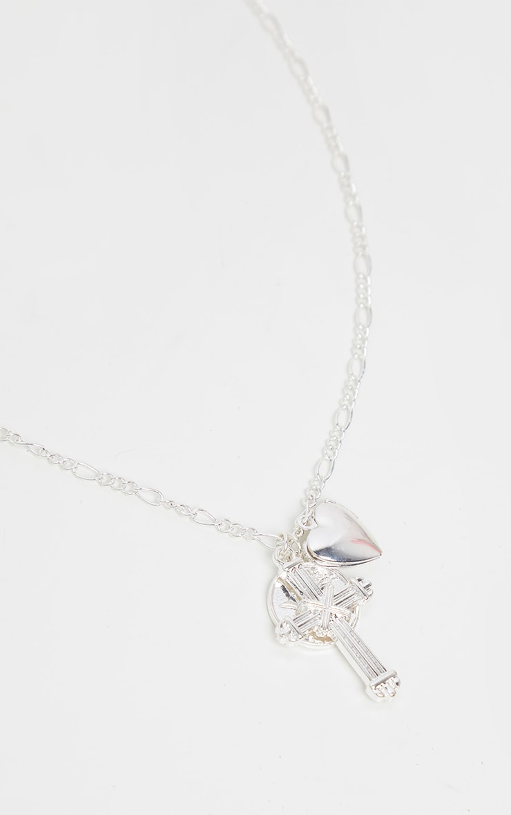 Silver Cross Rose Disc And Heart Necklace 3