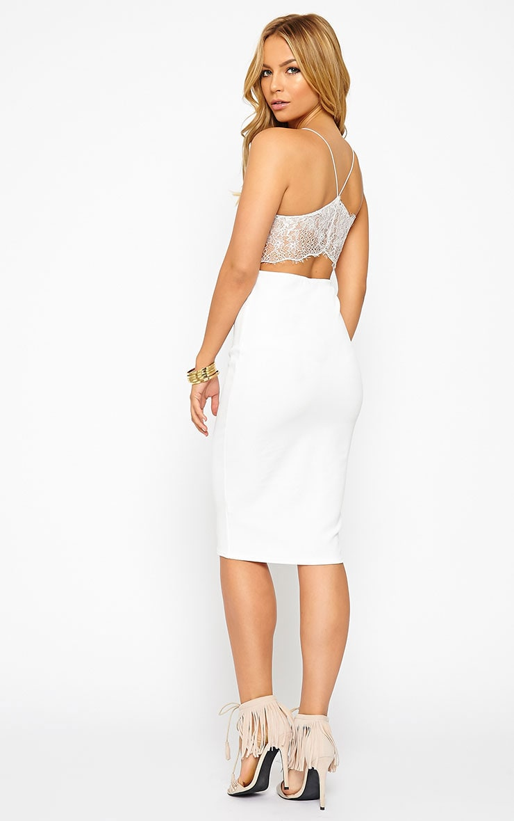 Tonia White Lace Back Detail Midi Dress 1