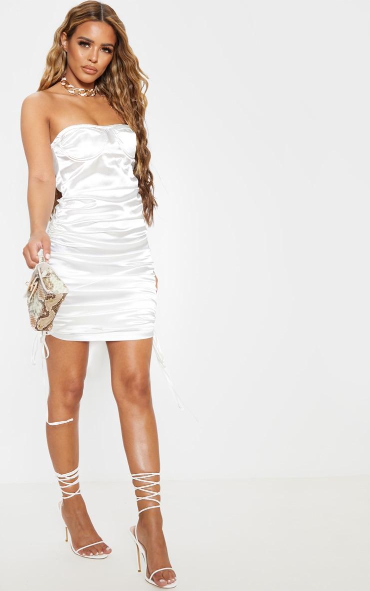 Petite White Corset Detail Ruched Side Satin Mini Dress 4