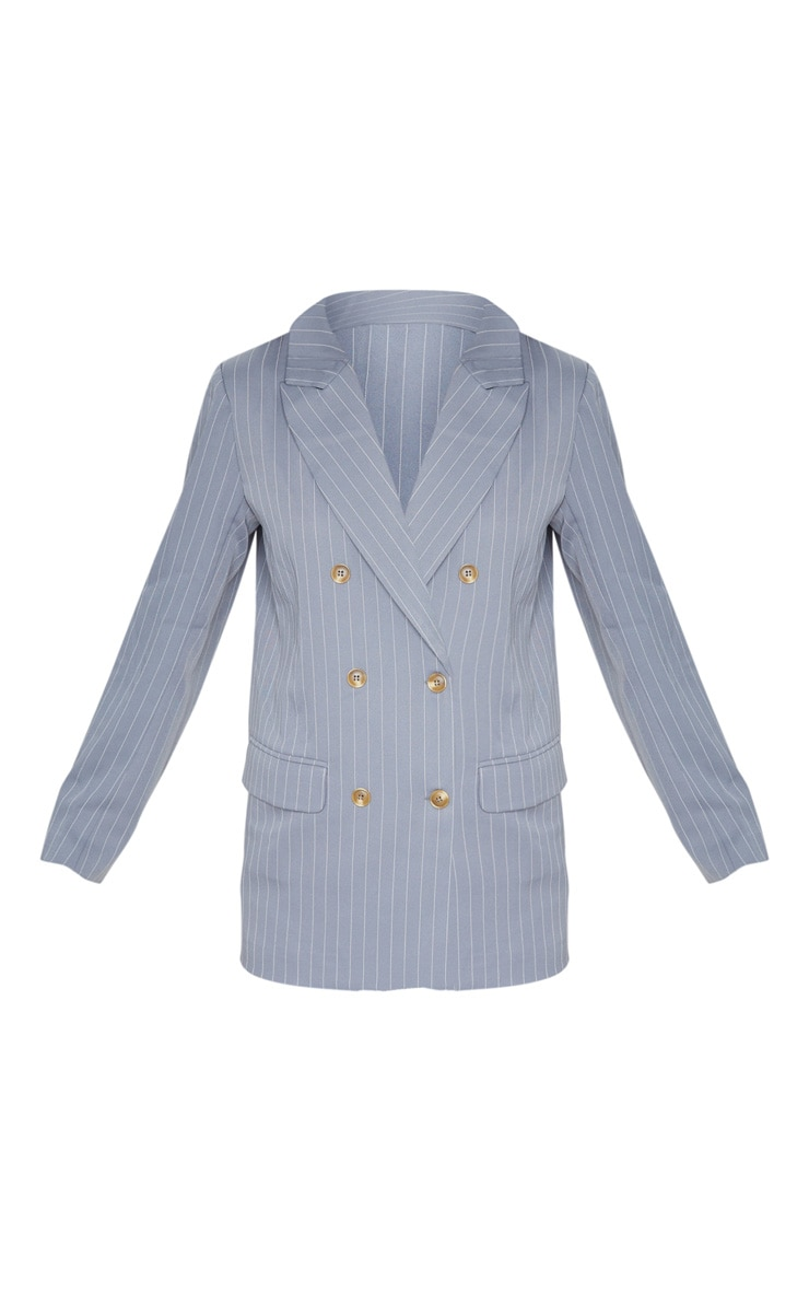Grey Oversized Pinstripe Woven Blazer 3