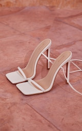 White PU Square Toe Barely There Lace Up Thigh High Heeled Sandals 3