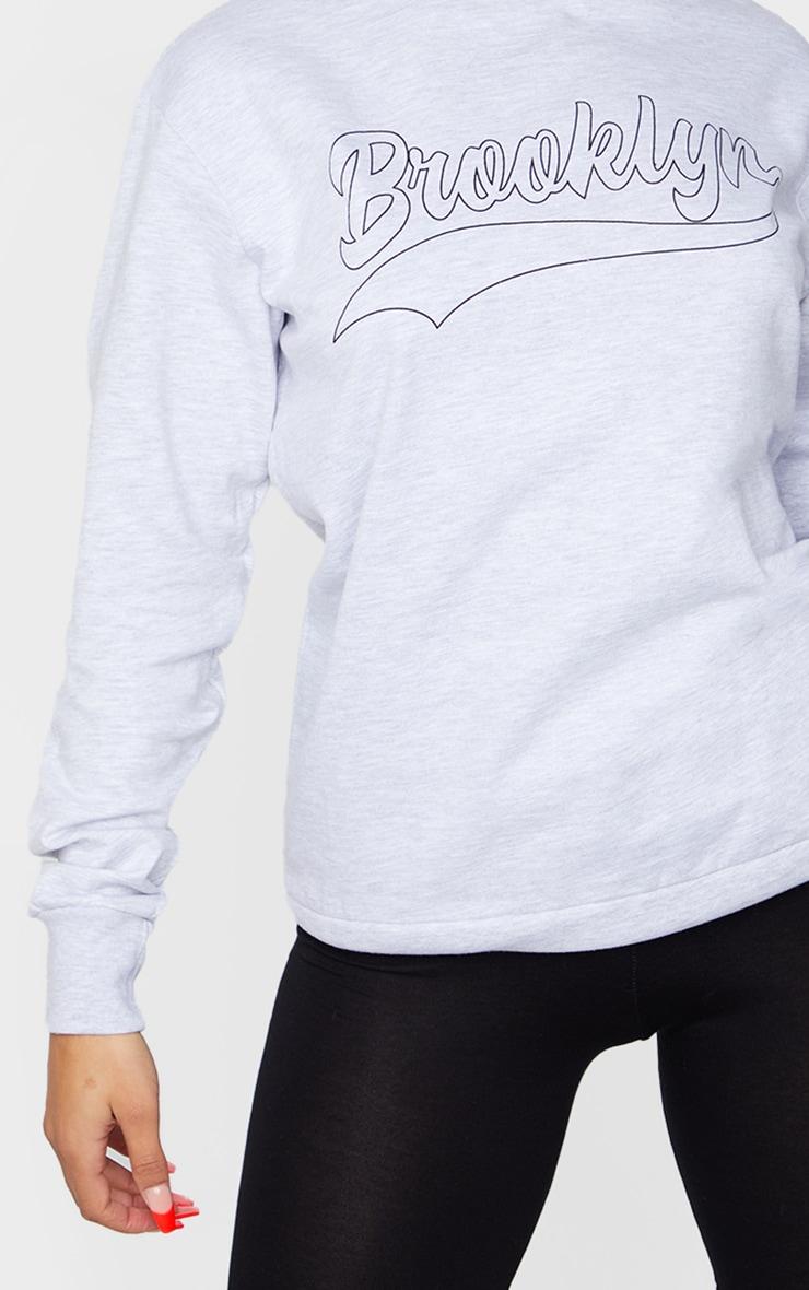 Grey Brooklyn Slogan Sweatshirt 4