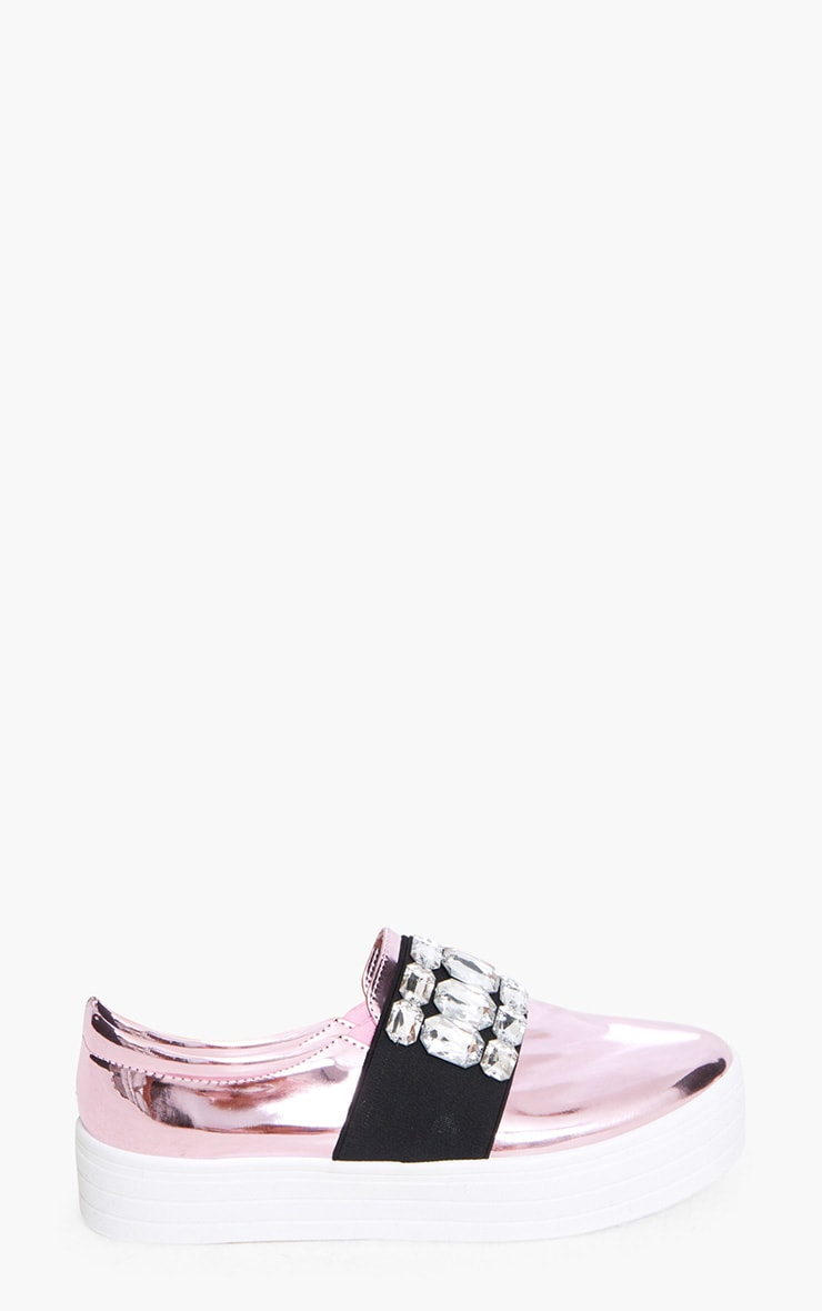 Pink Metallic Jewelled Flatform Pumps 3