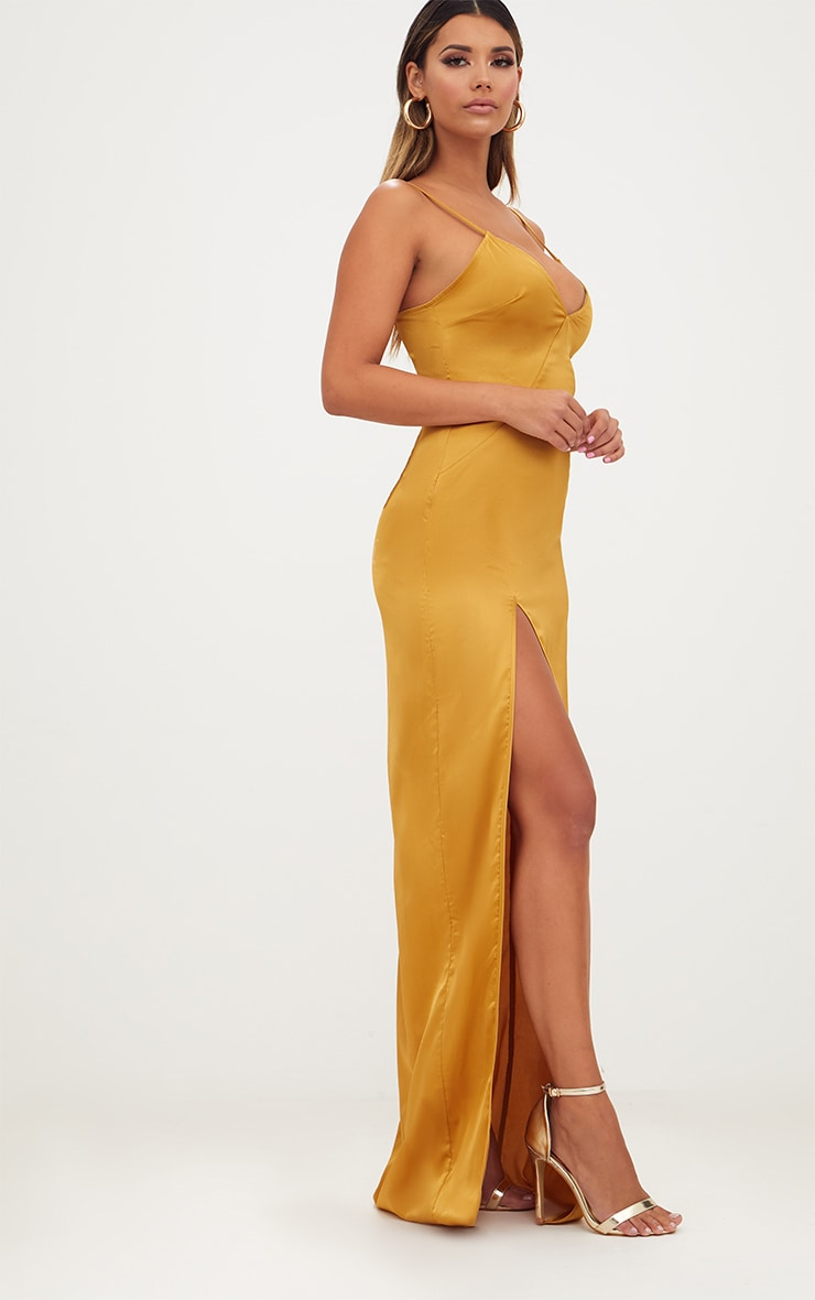 Mustard Satin Strappy Side Split Maxi Dress 4