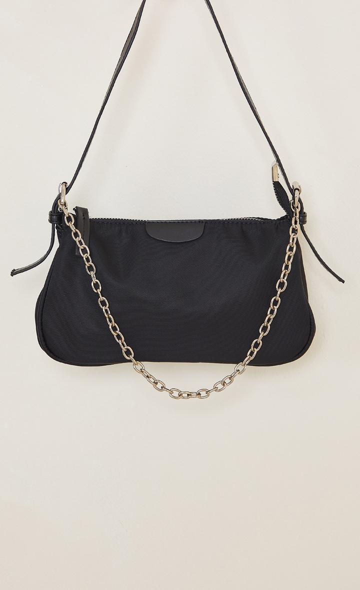Black Nylon Silver Chain Shoulder Bag 2