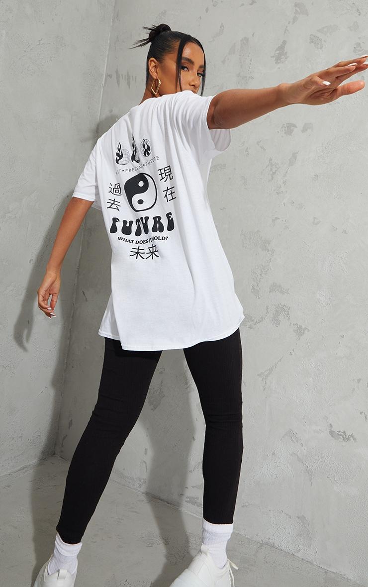 White Future Ying Yang Back Print Washed Oversized T Shirt 1