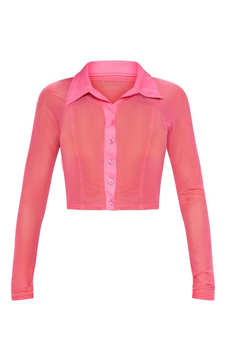 Plus Pink Sheer Mesh Long Sleeve Crop Shirt 3