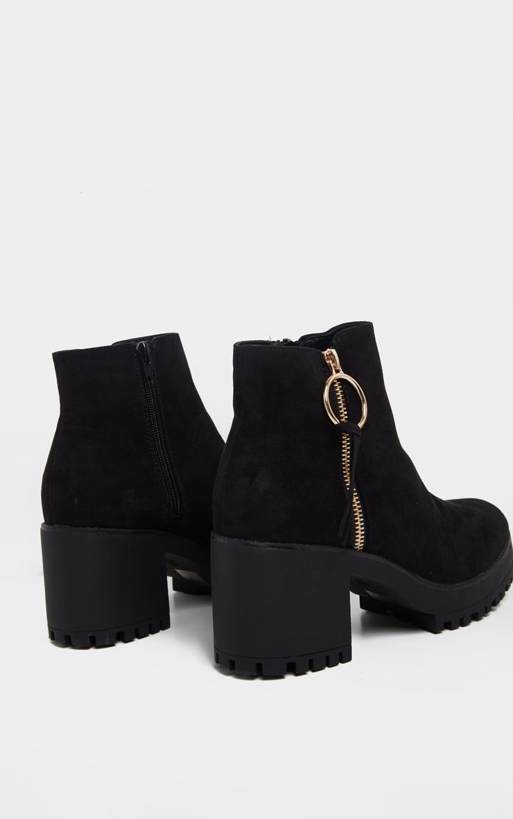 Black Faux Suede Side Ring Zip Block Heel Ankle Boot 4