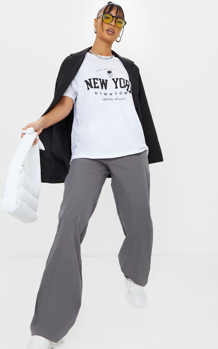 White New York Downtown Slogan Printed T Shirt 3