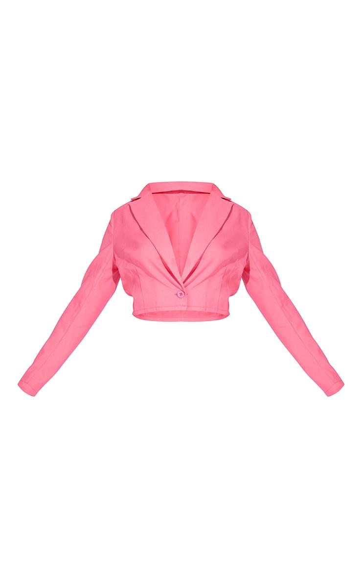 Hot Pink Pocket Button Cropped Blazer 5