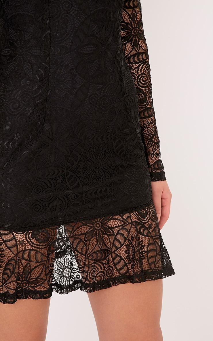 Viktoriah Black Lace Frill Hem Bodycon Dress 5