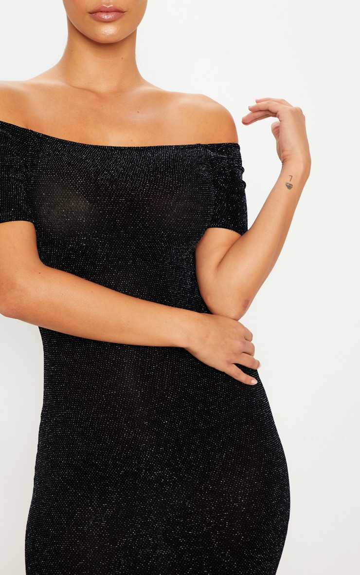 Black Bardot Short Sleeve Textured Glitter Bodycon Dress 5