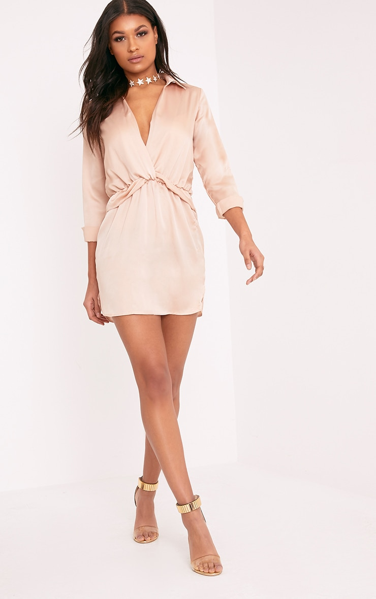 Katalea Champagne Twist Front Silky Shirt Dress 3